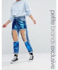 Liquor & Poker Petite - Jean skinny à déchirures extrêmes avec empiècements en sequin - Bleu
