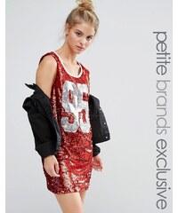 Liquor & Poker Petite - Robe débardeur oversize, courte, d'université, à sequins - Rouge