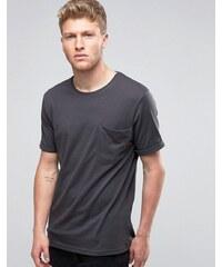 Ringspun - Legeres T-Shirt mit Tasche - Schwarz