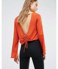 First & I - Blouse à dos ouvert avec taille lacée - Orange