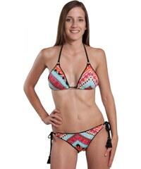 Milonga Bikini triangle multicolore avec petits pompons noirs AZTECA (HAUT)