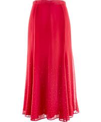 bpc selection premium Jupe longue en chiffon avec pierres brillantes rouge femme - bonprix