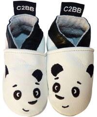 C2bb Chaussons bébé Chaussons bebe cuir souple | Panda blanc