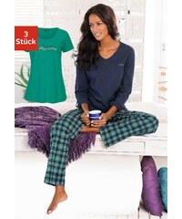 Große Größen: H.I.S Kariertes Pyjamaset (3 tlg.) mit Hose, T-Shirt & Langarmshirt, marine-grün kariert, Gr.32/34-36/38