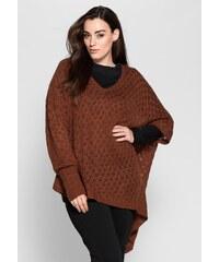 Große Größen: sheego Style Pullover in Poncho-Form, zimt, Gr.40/42-56/58