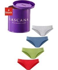Große Größen: LASCANA Bikinislips (4 Stück), 1x rot + 1x grün + 1x blau + 1x grau meliert, Gr.40/42-44/46