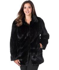 Große Größen: sheego Style Fellimitat-Jacke, schwarz, Gr.40-48