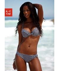 Große Größen: Push-up-Top ´´Scuba´´, s.Oliver RED LABEL Beachwear, schwarz kariert, Gr.34 (65)-36 (70)