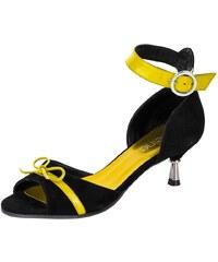 Heine Große Größen: Sandalette, schwarz/gelb, Gr.35-42