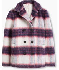 Esprit Károvaný kabátek z flaušové vlněné směsi