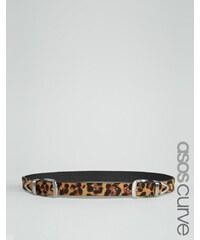 ASOS CURVE - Ceinture taille ou hanches à imprimé léopard et deux boucles - Marron