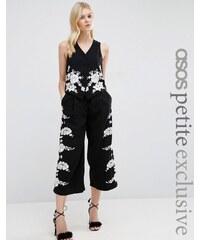 ASOS PETITE - Jupe-culotte large coordonnée de luxe à jolies fleurs brodées - Noir