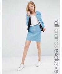Adpt Tall - Ensemble mini-jupe en daim zippée sur le devant - Bleu