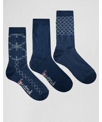 Lovestruck - Socken mit Spitzenmuster im 3er-Pack - Blau