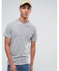 Celio - T-shirt ras de cou en lin mélangé à rayures avec manches raglan - Gris