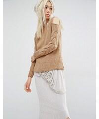 Oneon - Pull tricoté main avec manches torsadées et épaules dénudées - Fauve