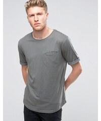 Ringspun - T-shirt avec poches, ourlets à revers et ourlet arrondi - Gris