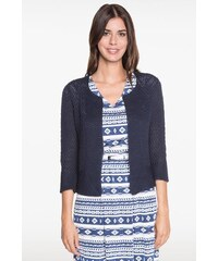 Gilet esprit veste en tricot Bleu Acrylique - Femme Taille 1 - Bréal