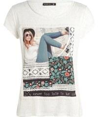 T-shirt motif femme et fleur devant Beige Viscose - Femme Taille 1 - Bréal