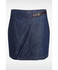 Jupe courte femme jean ceinture sur côté Bleu Elasthanne - Femme Taille 34 - Bonobo