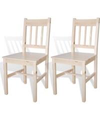 Dřevěná jídelní židle z borovicového dřeva, 2ks