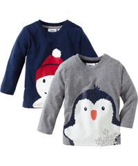 bpc bonprix collection Lot de 2 T-shirts bébé à manches longues en coton bio, T. 56/62-104/110 gris enfant - bonprix