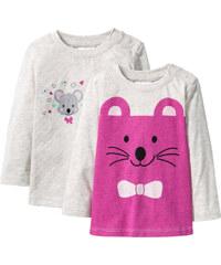 bpc bonprix collection Lot de 2 T-shirts bébé à manches longues en coton bio blanc enfant - bonprix