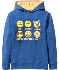 Sweat-shirt à capuche EMOJIS bleu manches longues enfant - bonprix