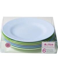 Rice Melaminové talířky Blue/Green - set 6 kusů