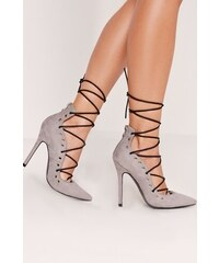 Missguided - Lodičky Eyelet Detail Lace Up