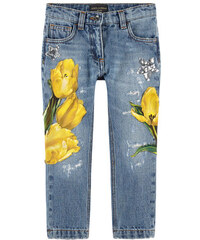 Dolce & Gabbana Stonewashed Jeans Slim Fit mit Tulpen-Patches