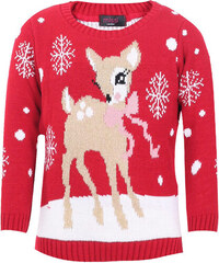 Saxana Dětský červený svetr Baby Deer
