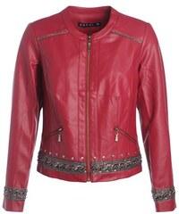 Veste similicuir détails folk Rouge Synthetique (polyurethane) - Femme Taille 38 - Bréal