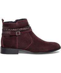 Eram Boots multibrides croûte de cuir bordeaux