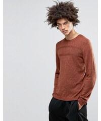 ASOS - Pull en laine mérinos avec surpiqûres texturées - Orange