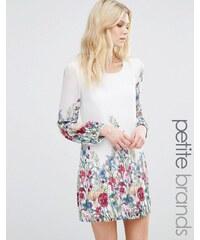 Yumi Petite - Robe droite imprimé bandes façon jardin - Blanc