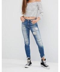 Noisy May - Lucy - Enge Jeans mit gerippten Flicken, Länge 30 - Blau