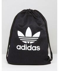 adidas Originals - Sac à dos avec cordon de serrage et logo trèfle - Noir