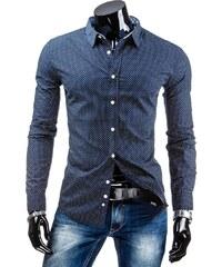 Coolbuddy Pánská modrá košile s bílými puntíky a dlouhým rukávem 4753 Velikost: L