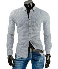 Coolbuddy Černo bílá kostkovaná košile s dlouhým rukávem slim-fit 6689 Velikost: M