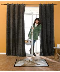 bpc living Panneau en tissu chenille Bonfeld (1 pce.), galon fronceur noir maison - bonprix