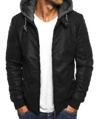 Zateplená černá kožená bunda s kapucí J.STYLE 3153