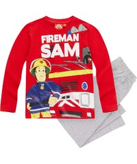 Feuerwehrmann Sam Pyjama grau in Größe 98 für Jungen aus 100% Baumwolle Graumelange: 95% Baumwolle 5% Viskose