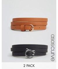 ASOS CURVE - Lot de 2 ceintures taille ou hanches avec boucle chat - Multi