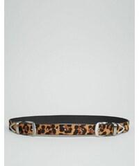 ASOS - Ceinture taille ou hanches motif léopard avec deux boucles - Marron