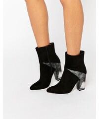 Truffle Collection - Stiefel mit transparentem Absatz und Kontrasteinsatz - Schwarz