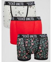 Ecko - Bedruckte Unterhosen im 3er-Set - Schwarz