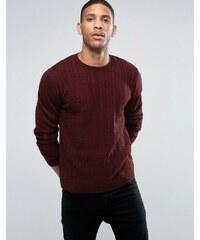 ASOS - Pullover mit Zopfmuster aus weinrotem Twistgarn - Rot