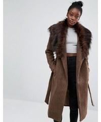 Only - Manteau drapé avec col en fausse fourrure - Marron