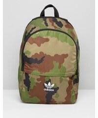 adidas Originals - Sac à dos avec imprimé camouflage et logo trèfle - Vert